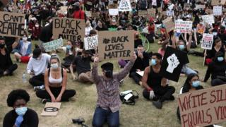 Protesters in London's Hyde Park