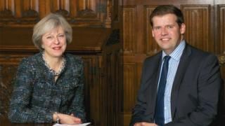 Prime Minister Theresa May and Bath MP Ben Howlett
