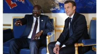Georges Weah et Emmanuel Macron
