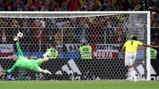Bacca'nın penaltı vuruşunu İngiltere kalecesi Jordan Pickford böyle kurtarmıştı