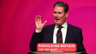 Sir Keir Starmer addressing party conference