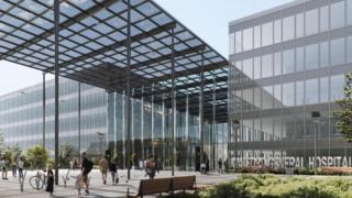 Artist's impression of new entrance for Watford General Hospital.