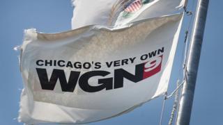 Flag on TV station WGN