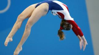 USA athlete on the beam at one of the Olympic Games