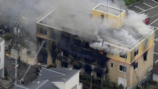 An aerial view shows firefighters battling the fires at Kyoto Animation Co