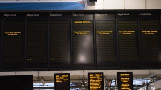 Empty station departure boards