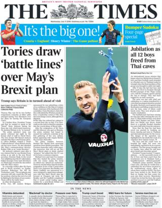 c9ac38ba0c4 Newspaper headlines: 'England expects' and UK to fine Facebook ...
