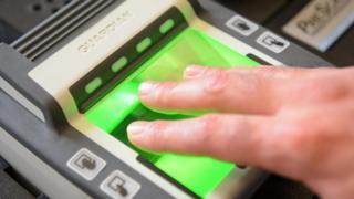Biometric fingerprinting in France (file pic)
