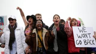 Demonstrators protest during the Women's March n Washington, DC.
