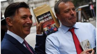 Andy Wigmore and Arron Banks outside the House of Commons