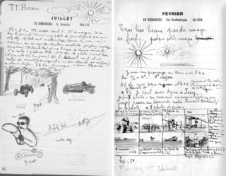 Two of Lartigue's diary showing sketches of scenes and writing
