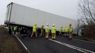 Jack-knifed lorry on the Acle Straight in Norfolk