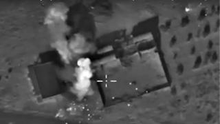 Frame grab of Russian air strike in Syria, released by Russian defence ministry (11 October)