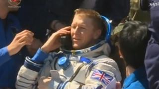 Tim Peake on the phone
