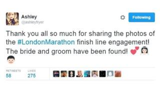 Thankyou all so much for sharing the photos of the #LondonMarathon finish line engagement! The bride and groom have been found!