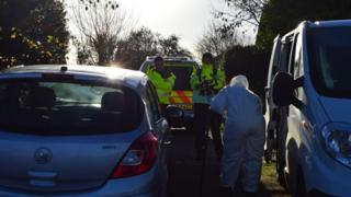 Forensic examinations taking place in Elm Lane, Lower Earley