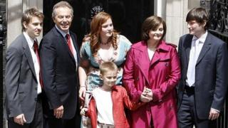 The Blair family on the steps of 10 Downing Street