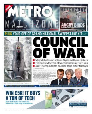 Ảnh trang Metro từ bài điểm báo Anh của BBC News sáng 13/04/2018)