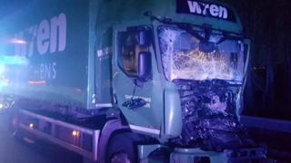 Smashed lorry
