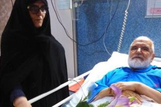 Photo posted on Twitter by Mohammad Karroubi showing his father in hospital on 6 August 2017