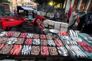 Egyptian vendors display fish for sale at a fish market in Alexandria, 220km northwest of Cairo, Egypt, 08 September 2019.