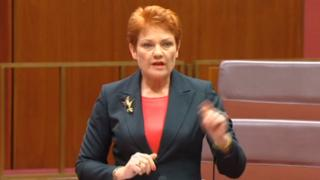 Austrailan politician Pauline Hanson makes a speech in the Australian parliament