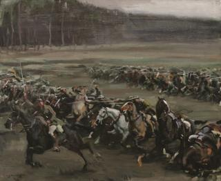 A painting depicting the charge by Alfred Munnings