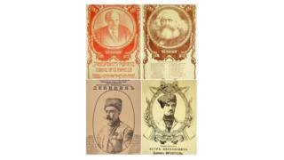"""Красные плакаты """"Ленин"""" и """"Маркс"""" и белые плакаты """"Врангель"""" и """"Деникин"""""""