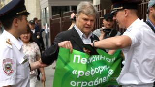 Opposition politician Sergei Mitrokhin was detained during a one-person protest against the plans in Moscow earlier this month