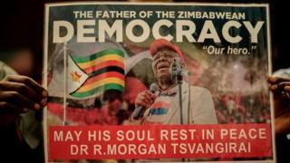 Une affiche à l'honneur de l'opposant Morgan Tsvangirai.