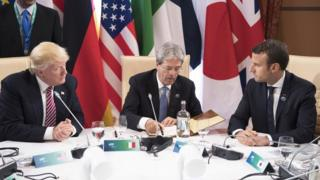 ABD Başkanı Donald Trump, İtalya Başbakanı Paolo Gentiloni ve Fransa Cumhurbaşkanı Emmanuel Macron