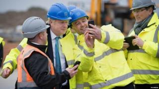 Boris Johnson on a campaign visit in Bedford