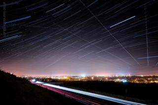 in_pictures Star trail showing the normal interference that planes have on these images - taken over Hampshire,