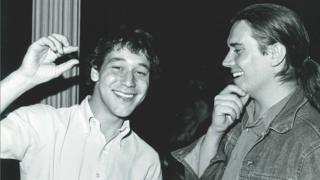 Sam Raimi and Steve Woolley at the festival in 1982 with the Evil Dead