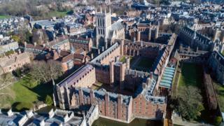 St John's College chapel from the air