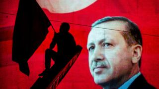 Erdogan banner in Ankara, file pic