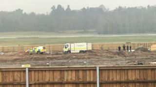 A bomb disposal team at Newbury racecourse