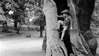 Boy dressed as Robin Hood at Sherwood Forest