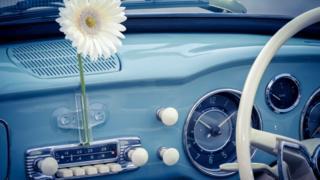 Автомобильное ретро-радио с цветком