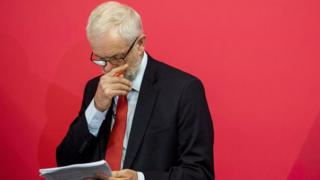 Jeremy Corbyn looking at a copy of his speech