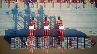Aerial photo of a container ship