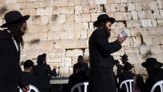 Ultra-Orthodox Jews at the Western Wall in Jerusalem on 31 January 2016