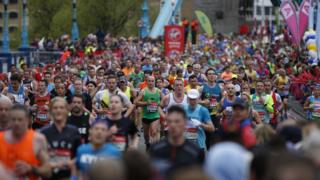 People running the London marathon in 2015.