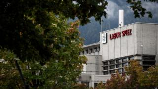 The Spiez laboratory is seen through the trees in this photo