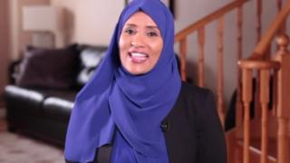 Journalist Hodan Naleyah is seen during a BBC interview
