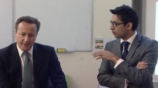 David Cameron (l) and Sajid Raza (r)
