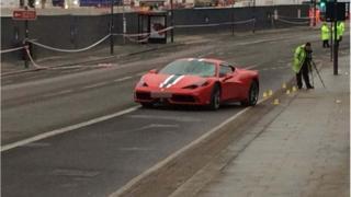 Ferrari 458 at the crash scene at Battersea