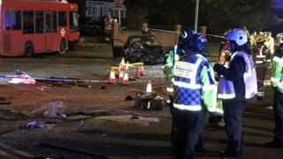 A photo of the crash scene