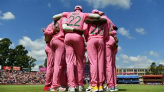 South Africa' national cricket side in a huddle in Johannesburg, South Africa - Sunday 9 February 2020