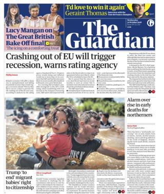 Guardian front page - 31/10/18